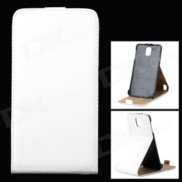 Stylish Up-Down Flip-Open PU Leather Case for Samsung Galaxy Note 3 / N9006 - White metal ring holder combo phone bag luxury shockproof case for samsung galaxy note 8