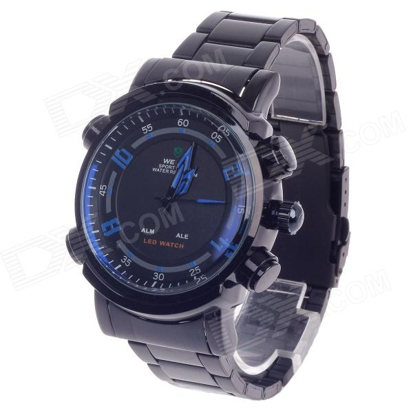 WEIDE WH-1101 Men's Quartz & LED Dual Time Display Sport Wrist Watch - Black + Blue (1 x CR2016) stylish 8 led blue light digit stainless steel bracelet wrist watch black 1 cr2016