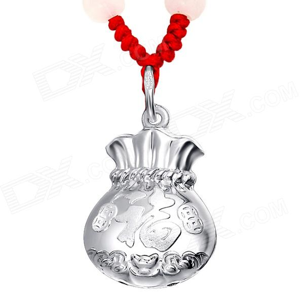 eQute PSIW11 S999 Sterling Silver Lucky Bag Chinese fu Necklace with Adjustable Red Rope - Silver
