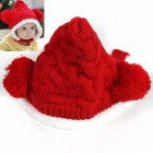 Knitted Wool Warm Christmas Cat for Baby - Red + White