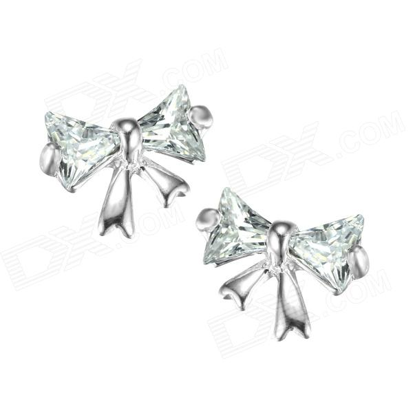 eQute ESIW4 925 Sterling Silver Cute Zircon Butterfly Women's Ear Studs - Silver (Pair) sterling silver ear thread