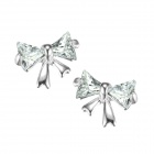 eQute ESIW4 925 Sterling Silver Cute Zircon Butterfly Women's Ear Studs - Silver (Pair)