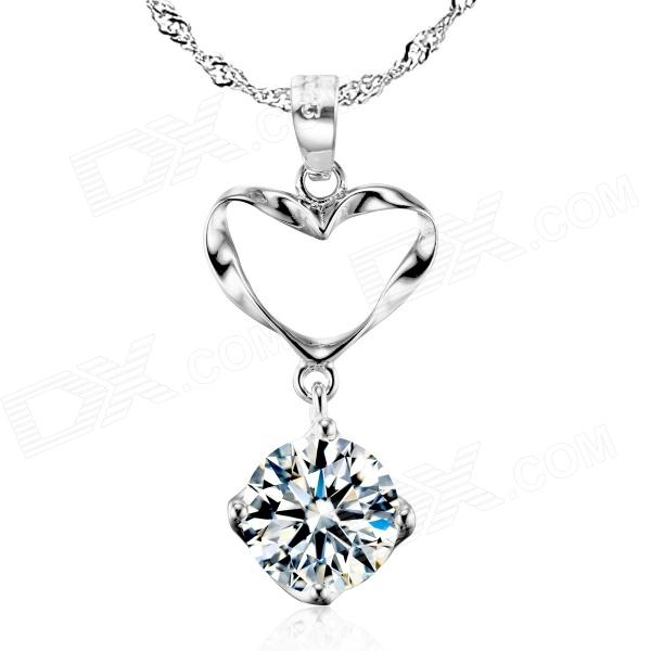 eQute PSIW13 925 Sterling Silver Heart Shape Shiny Zircon Pendant w/ Ripple Chain Necklace - Silver cute beads cherry shape pendant necklace for women