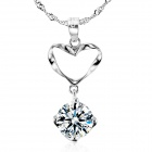 eQute PSIW13 925 Sterling Silver Heart Shape Shiny Zircon Pendant w/ Ripple Chain Necklace - Silver