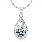 eQute PSIW16 925 Sterling Silver Shiny Zircon Pendant Ripple Chain Necklace - Silver