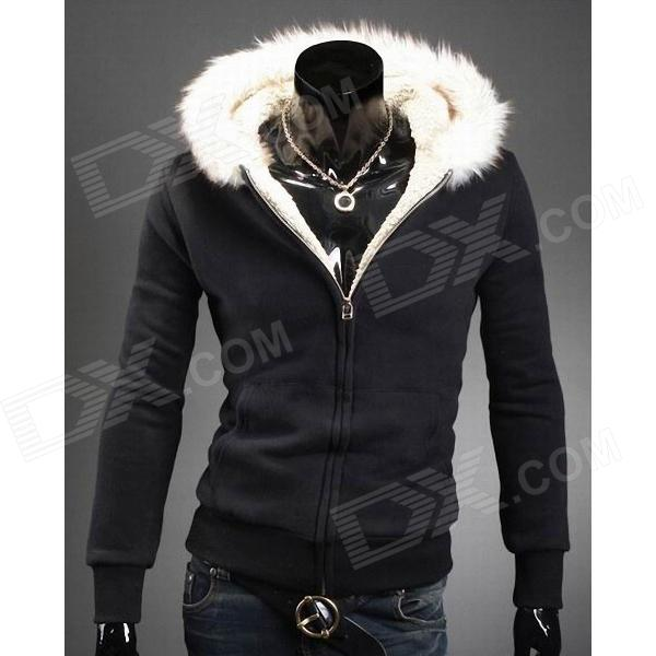 Fur Collar Men's Hooded Fleece Coat - Black(Size-L)