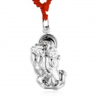 eQute PSIW17 S999 Sterling Silver PiXiu Pendant Necklace w/ Adjustable Red Rope - Silver