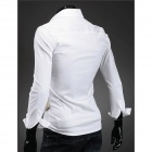 Simulation II Piece Men's Waistcoat Shirt - White + Beige (Size-L)