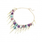 Fashionable All-match Rivets Skull Head Zinc Alloy Women's Necklace - Multicolored