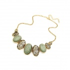 Weinlese Elliptical Beads Zinc Alloy Damen Halskette - Bronze + Light Green