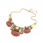 Klassiker Bohemian Charme Zinc Alloy Damen Halskette - Bronze + Light Red