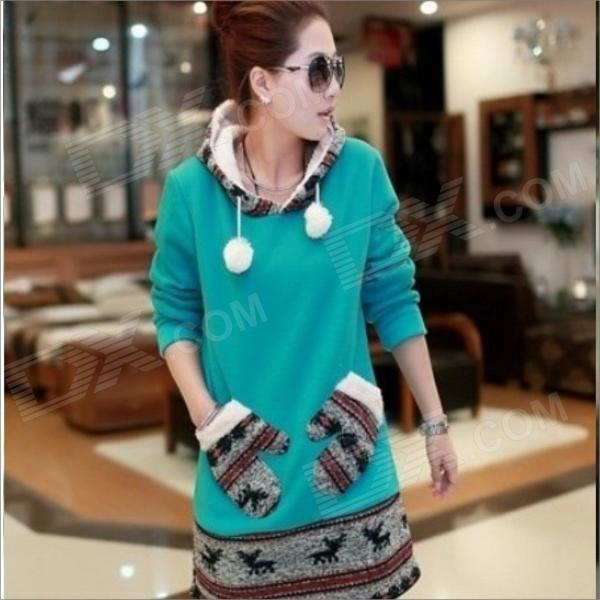 WB8766 Deer Hair Bulb Joining Together Long Fleece Sweater - Green (Size L)