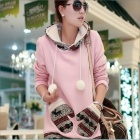 WB8766 Deer Hair Bulb Joining Together Long Fleece Sweater - Pink (Size L)