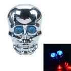 SH086-1 Skull-Shape 2-LED 6-Mode Blue Tail Tail com aviso laser - Silver + Blue (2 x AAA)