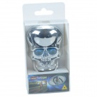 SH086-1 Skull-Shape 2-LED 6-Mode Blue Bicycle Tail Light w/ Laser Warning - Silver + Blue (2 x AAA)