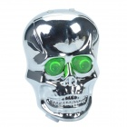 SH086-1 Skull-Shape 2-LED 6-Mode Green Bicycle Tail Light w/ Laser Warning - Silver + Green (2xAAA)