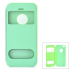 Stylish Protective Flip-open PU + PC Case w/ CID Window for Iphone 5S - Light Green