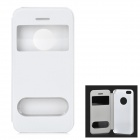 Protective PU + Plastic Flip Open Case w/ Dual Windows for iPhone 5s - White