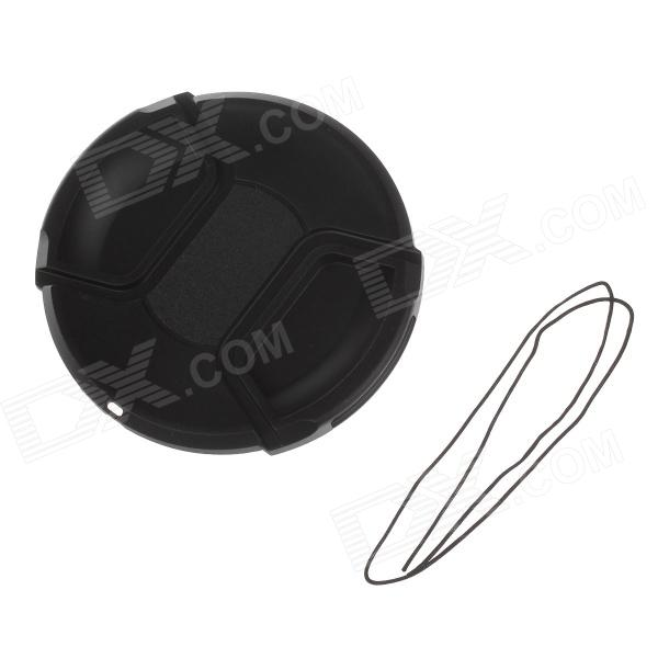 Durable Portable 82mm Universal Plastic Lens Cap w/ Strap - Black doumoo 330 330 mm long focal length 2000 mm fresnel lens for solar energy collection plastic optical fresnel lens pmma material