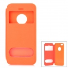 Protective PU + Kunststoff-Flip-Open Case w / Dual-Windows für iPhone 5s - Orange