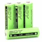 BDY 1.2V 2200mAh Rechargeable Ni-MH AA Battery - Light Green + Black (4 PCS)