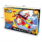 Robotime P220S DIY Wooden Mosaic Solar Energy Plane Combat Helicopter - Red + Yellow