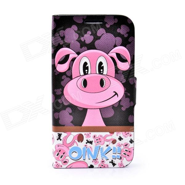 LOFTER Cartoon Red Pig Style Flip Open Case for Samsung i9500 - Black + Pink sland team french open 2015 black red