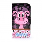 Lofter Cartoon Red Pig Stil Flip Open Case für Samsung i9500 - Schwarz + Pink