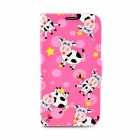 LOFTER Cartoon Cow Pattern Flip Open Case for Samsung i9500 - Black + Pink