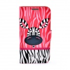 LOFTER Cartoon Zebra Style Flip Open Case for Samsung I9500 - Deep Pink + White