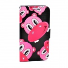LOFTER Cute Hippo Style Flip Open PU Leather Case Cover for Samsung Galaxy S4 i9500 - Pink + Black
