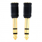 6.35mm Male to 3.5mm Female Stereo Audio Adapter for Speaker / Microphone - Golden + Black (2 PCS)