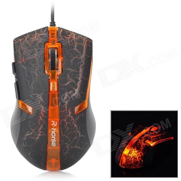 FC-5160 USB 2.0 Wired 3200 / 2400 / 1600 / 800dpi Optical Gaming Mouse - Black + Orange fc 143 usb 2 0 wired 1600dpi led gaming mouse black cable 120cm