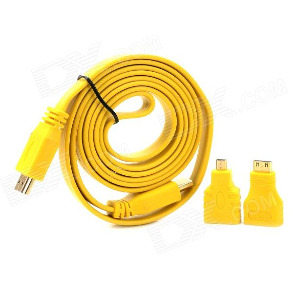 1080P HDMI Male to Male Extender Cable w/ Mini HDMI + Micro HDMI Adapters - Yellow 80 channels hdmi to dvb t modulator hdmi extender over coaxial
