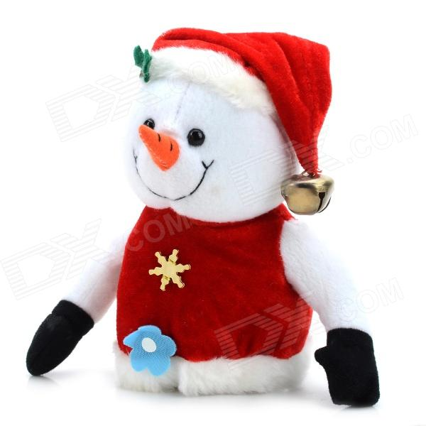 Cute Holiday Snowman Doll Lint + Cellucotton Toy for Christmas - White + Red cute insect doll toy