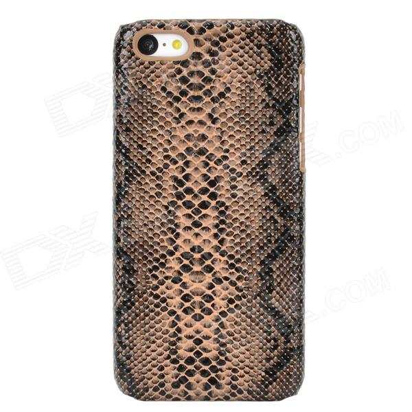 Snakeskin Pattern Protective Plastic Back Case for Iphone 5C - Black + Brown stylish snakeskin pattern plastic back case for iphone 5 brown