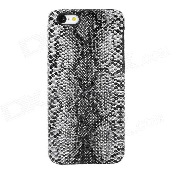 Snakeskin Pattern Protective Plastic Back Case for Iphone 5C - Black + White stylish snakeskin pattern plastic back case for iphone 5 brown