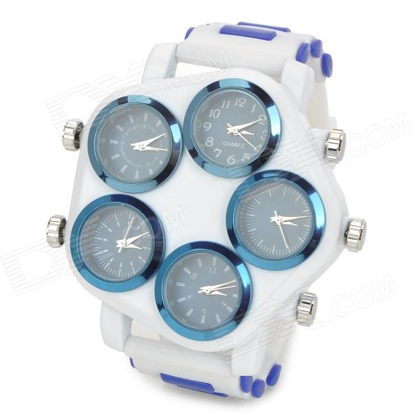 Pentagon Dial Five-Movement Sports Analog Quartz Wrist Watch - White + Blue (5 x 377) pentagon dial five movement men s sports analog quartz wrist watch black silver 5 x 377 page 7