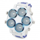 Men's Sports Analog Quartz Wrist Watch Pentagon Dial Five-Movement  - White + Blue (5 x 377)