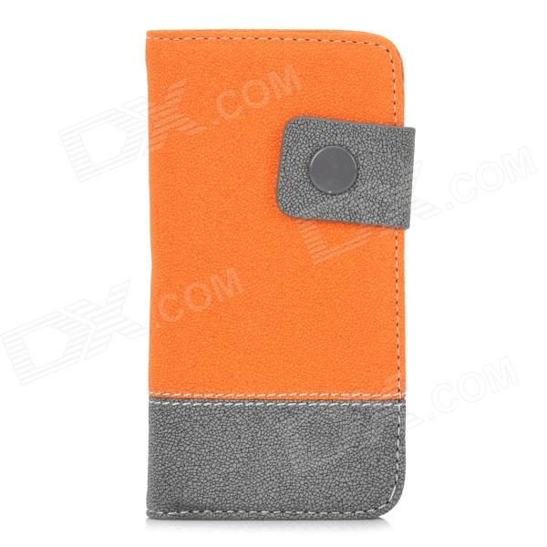 Protective PU + Plastic Flip Open Case w/ Card Slots / Strap for Iphone 5 - Orange + Grey protective flip open pu case w stand card slots for samsung galaxy s4 active i9295 black