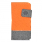 Protective PU + Plastic Flip Open Case w/ Card Slots / Strap for Iphone 5 - Orange + Grey