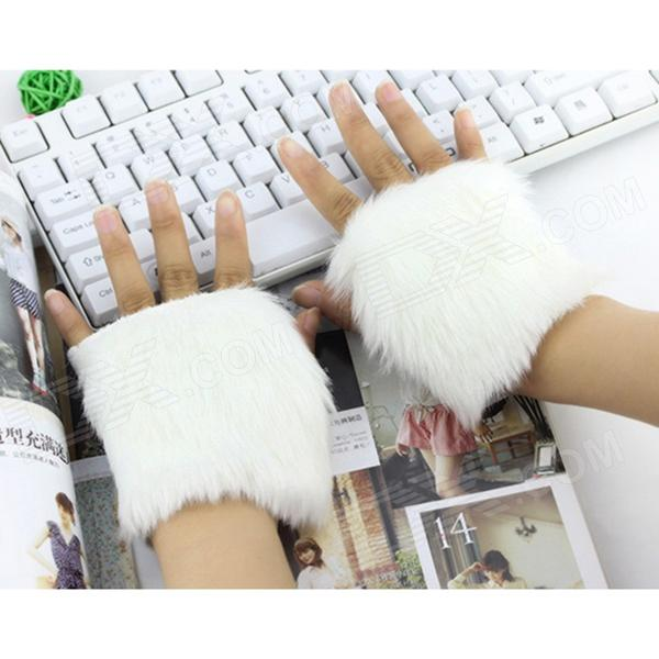 Women's Decorative Warm Plush Half-Finger Oversleeve Gloves - White (Pair)