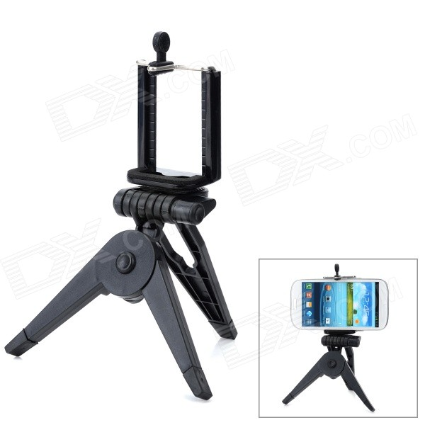 Large Desktop Cellphone Holder + TrIpod for Samsung / HTC / Xiaomi / Iphone 4S / 5 + More - Black zd universal desktop clip on flexible cellphone holder for samsung htc more white