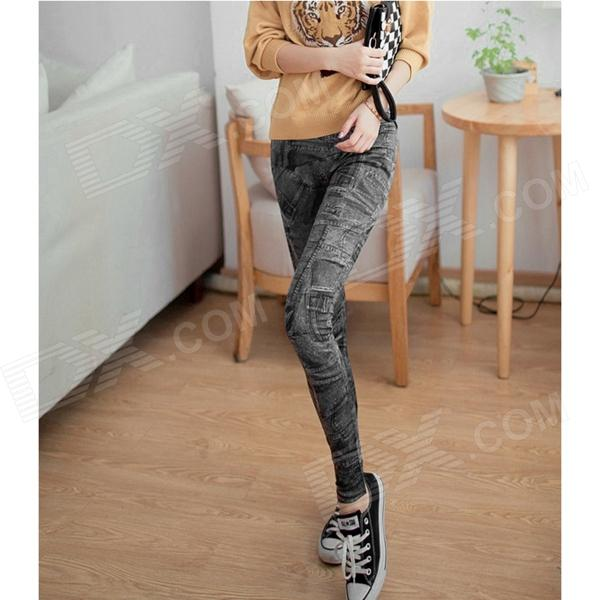Jeans Pattern Polyester Leggings Pants - Black