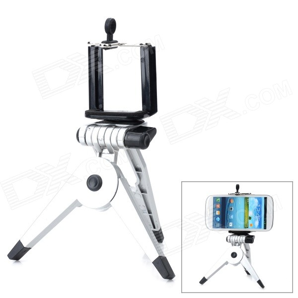 Small Desktop Cellphone Holder + Tripod for Samsung / HTC / Xiaomi + More - Black + Silver zd universal desktop clip on flexible cellphone holder for samsung htc more white