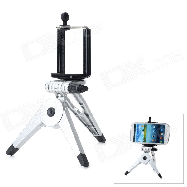 Large Desktop Cellphone Holder + Tripod for Samsung / HTC / Xiaomi + More - Black + Silver zd universal desktop clip on flexible cellphone holder for samsung htc more white