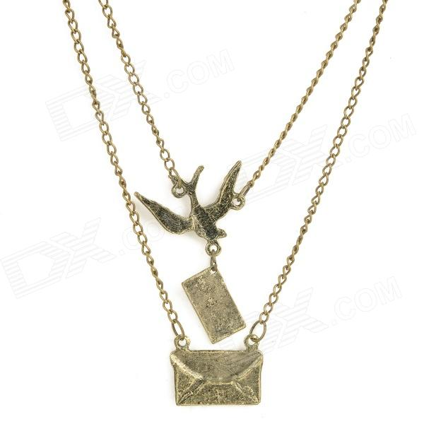 Bird and Envelope Style Zinc Alloy Pendant Necklace - Bronze old antique bronze doctor who theme quartz pendant pocket watch with chain necklace free shipping