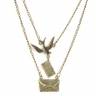 Bird and Envelope Style Zinc Alloy Pendant Necklace - Bronze
