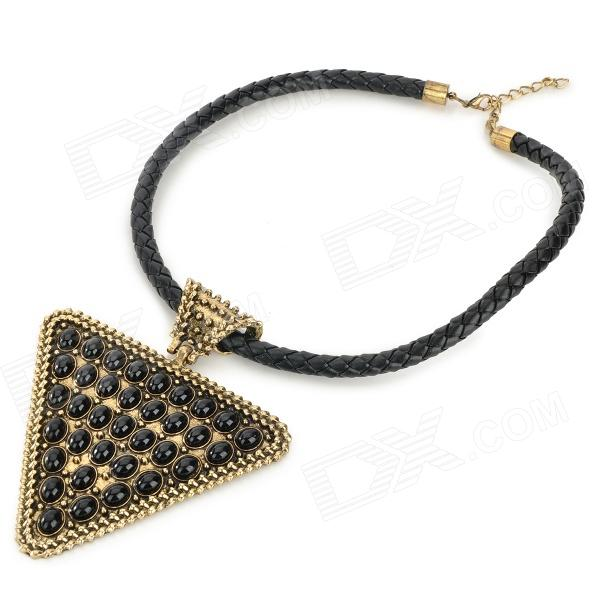 Triangle Shaped Dots Stylish Zinc Alloy Women's Short Pendant Necklace - Black + Golden annular black pearl diamond pendant alloy necklace