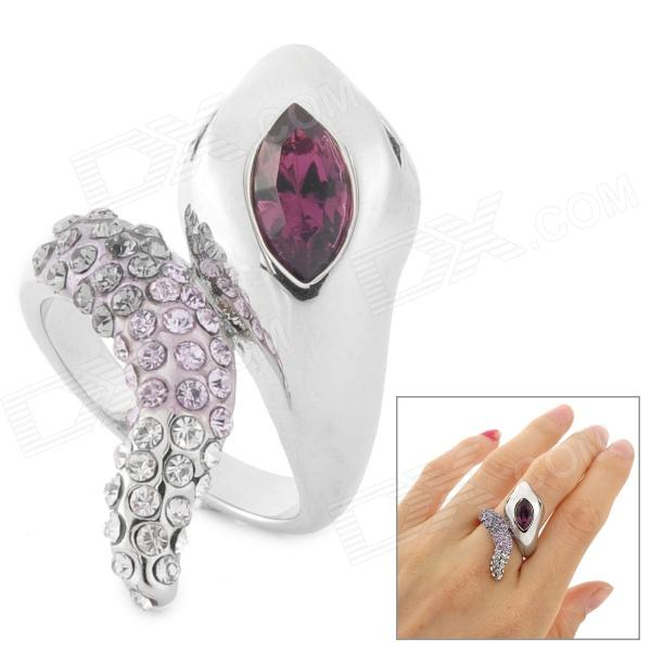 Snake Style Fashionable Rhinestone + Zinc Alloy Ring - Purple + Silver fashion birds style double refers zinc alloy open ring silver